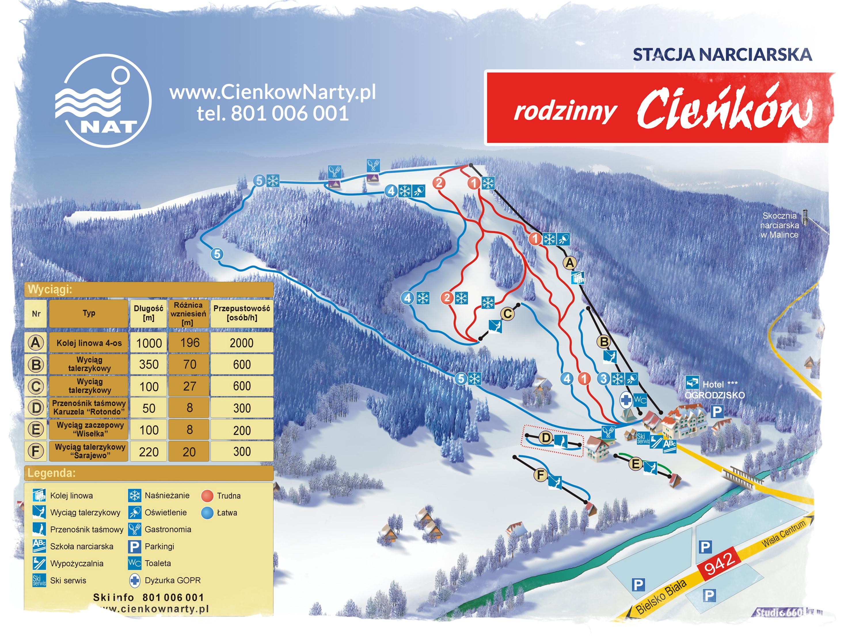 mapa tras narciarskich Cieńków